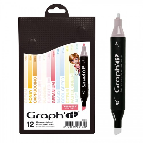 Komplekt GRAPH'IT Marker 12tk  - Scrap