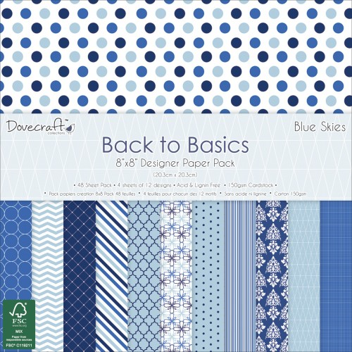 Dovecraft Back to Basics Blue Skies FSC 8x8 Paper Pack