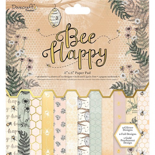 20x20cm paberiplokk Dovecraft Bee Happy