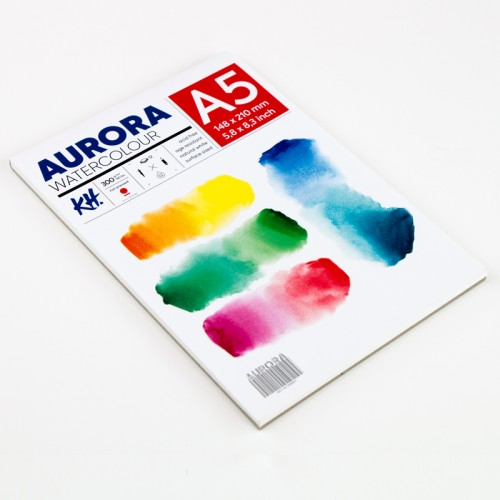 Akvarellialbum AURORA A5, 300gsm 12 lehte, Kuumpressitud