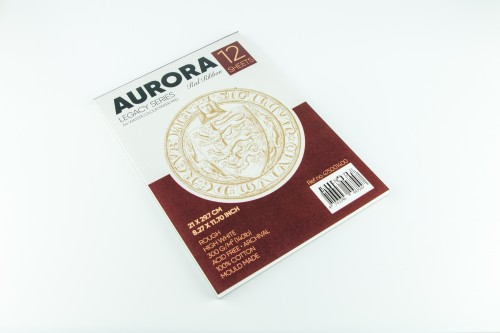Akvarellialbum AURORA Red Ribbon A4, 300gsm 100% Puuvill 12  lehte, Krobeline