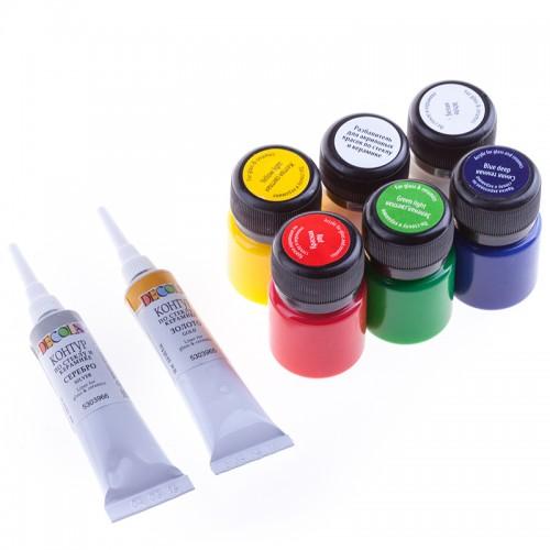 Tekstiilivärvi k-t  Decola  5x20 ml +2kontuuri+lahustaja