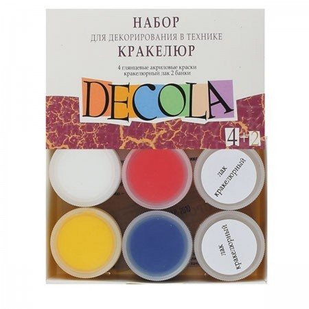 Decola dekupaazi k-t . värvid 4x20ml +kraklee lakk