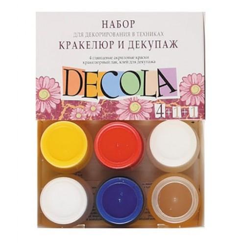 Decola dekupaazi k-t . värvid 4x20ml +liim+kraklee lakk