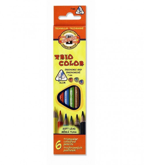 Värvipliiatsid, kolmnurksed 6 värvi, 7 mmTRIOCOLOR 3131