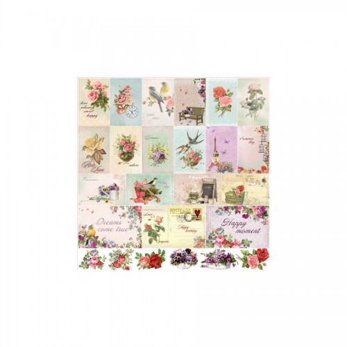 Scrapbookingu paber 30x30 cm-  180Gsm  French Journey Cards