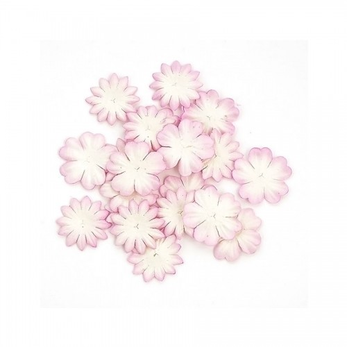 Set Of Flowers From Mulberry Paper, 2 Kinds Of 20 Pieces White With Pink