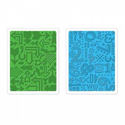 -50% Textured Impressions Embossing Folders 2Pk - Arrows & Numbers Set By Lori Whitlo
