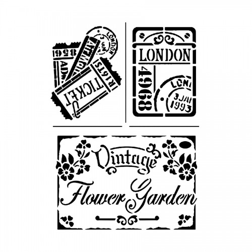 """Sabloon A4 """"Vintage Flower Garden"""""""
