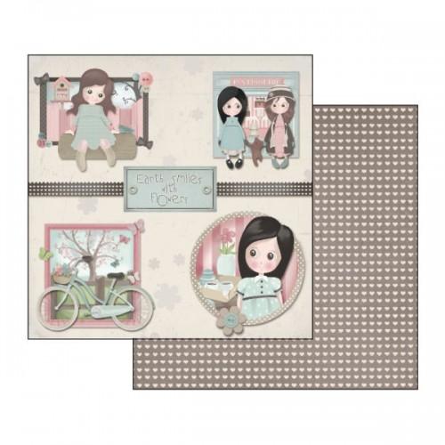 Scrapbookingu Paber 30X30  - Emma & Camille Bycicle