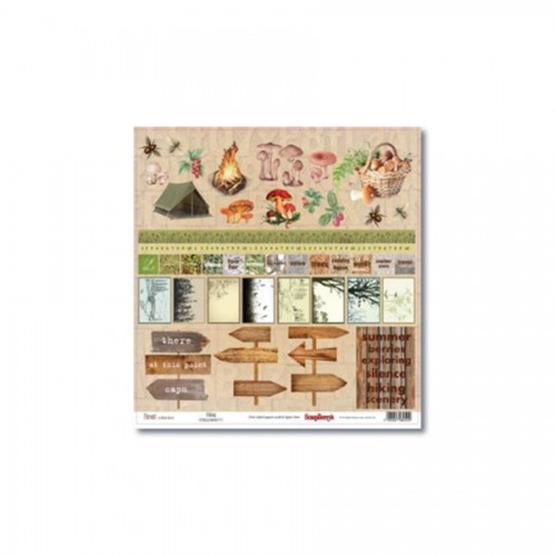 Scrapbookingu paber 30x30 cm-   Forest Hiking 190Gsm