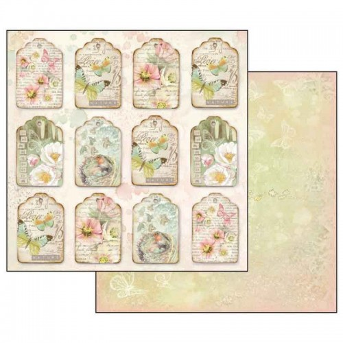 Scrapbookingu Paber 30X30-  Flowers And Butterflies Fastener