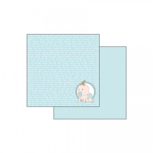 Scrapbookingu Paber 30X30 -  Baby Light Blue With Wirting