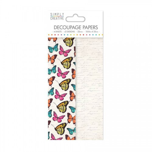 Simply Creative Decoupage Paper  Vibrant Butterflies