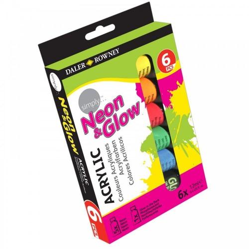 Akrüülvärvid Neon & Glow 6 x12ml SIMPLY