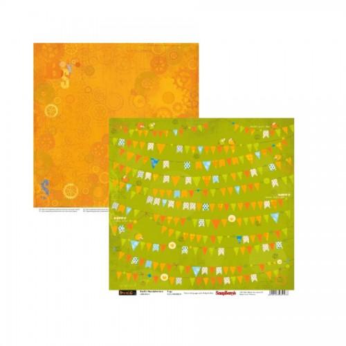 Scrapbookingu paber 30x30 cm-  190 gsm Basik's New Adventure Flags