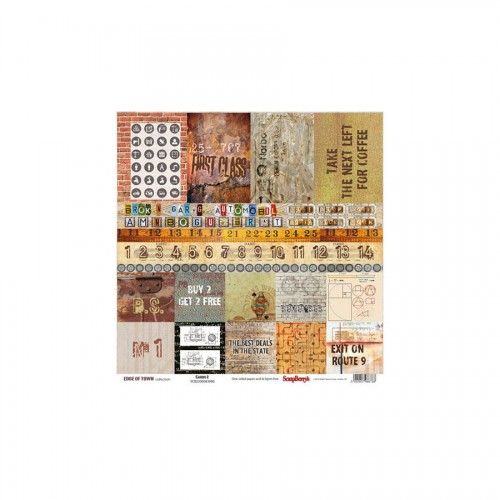 Scrapbookingu paber 30x30 cm-190gsm-Edge of Town – Next Exit