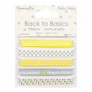 Dovecraft Back to Basics Baby Steps Ribbon Pack