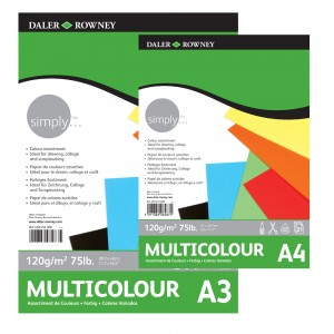 Блок цветной бумаги Simply   А3,120г/м,21л