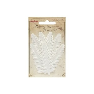 Set Of Leaflets, 7 Pcs, Fern, White
