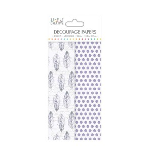 Simply Creative Decoupage Paper  Purple Feathers