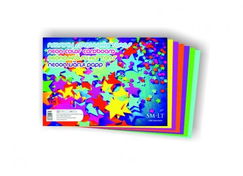 А4 цветной картон, 6 л. НЕОН