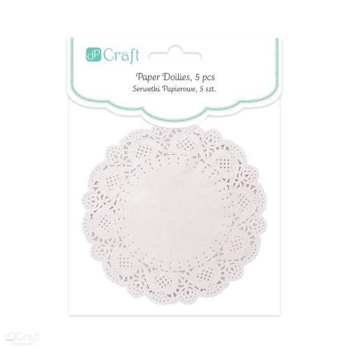 Круглые ажурные бумажные салфетки ,11см,5шт белые