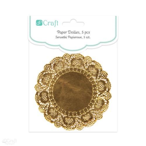 Круглые ажурные бумажные салфетки ,11см,5шт золото