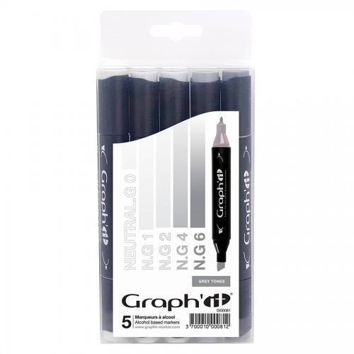Комплект маркеров GRAPH'IT из 5 шт. - Grey