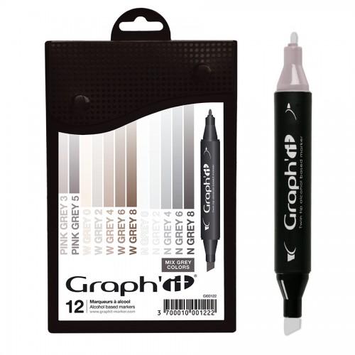 Комплект маркеров GRAPH'IT из 12 шт.- Mix greys