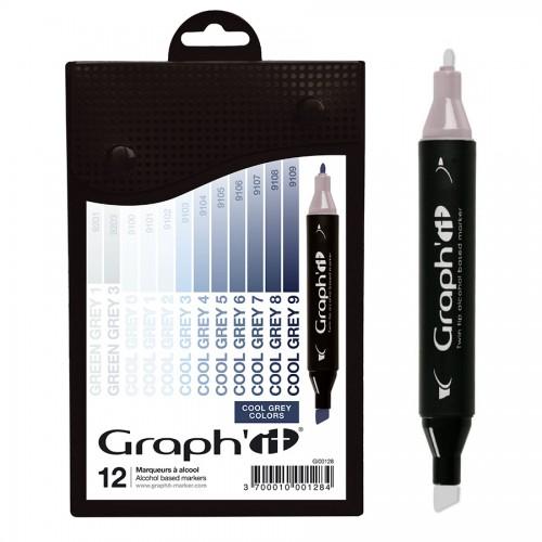 Комплект маркеров GRAPH'IT из 12 шт. - Cool Greys
