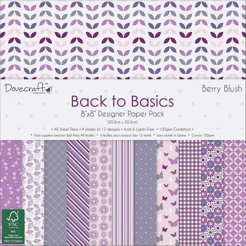 Dovecraft Back to Basics Berry Blush FSC  8x8 Pape