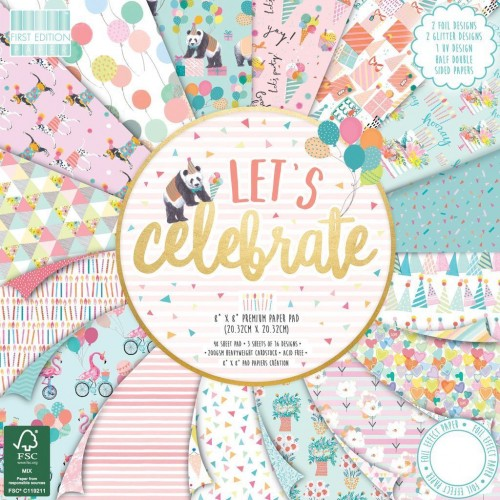 First Edition FSC 8 x 8 Lets Celebrate Paper Pad