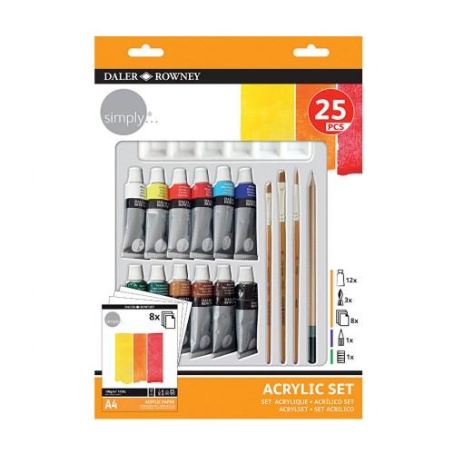 Набор  акриловых красок,25шт+бумага+кисти