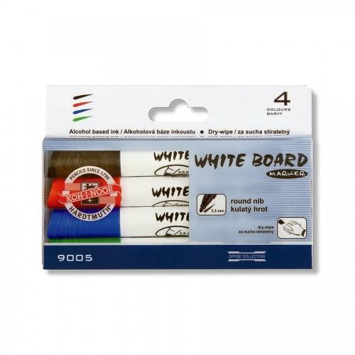 Маркер для белой доски 9005,к-т 4 цвета, круглый
