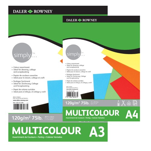 Блок цветной бумаги Simply  А4,120г/м,21л