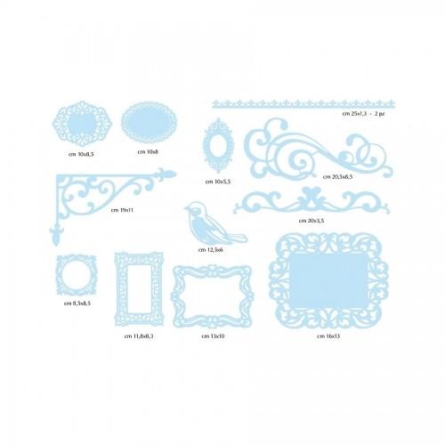 12 Paper Decorations - Light Blue Paper