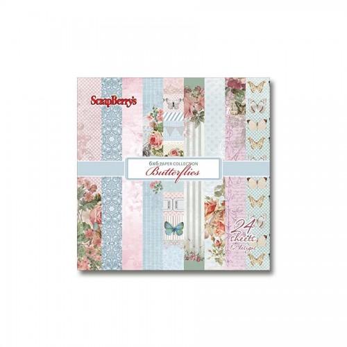 Набор бумаги 15*15см,  Butterflies 190Gsm 24 Sh.