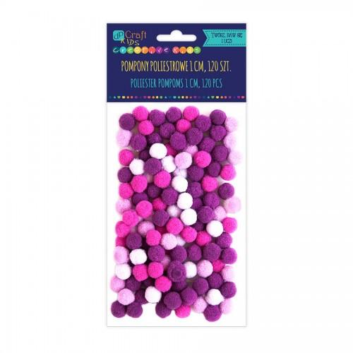 Помпоны Из Полиэстра 1См Микс Фиолетовый, 120 Шт