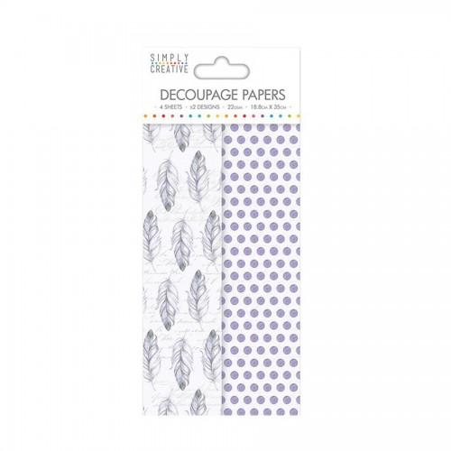 Simply Creative Decoupage Paper  Purple Feathers