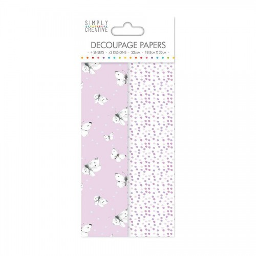 Simply Creative Decoupage Paper  Lilac Butterflies