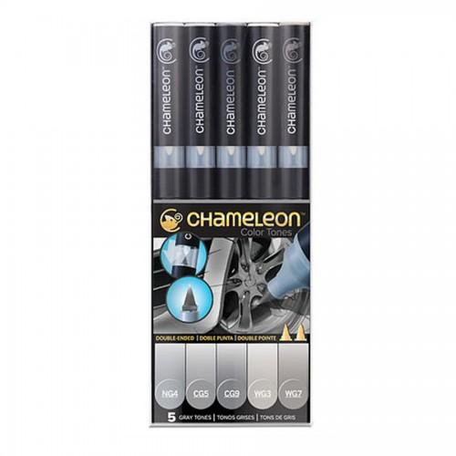 Chameleon, 5 Pen Set Grey Tones