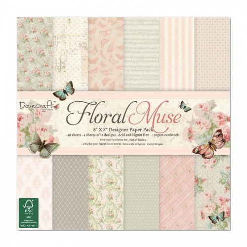 Набор бумаги 20*20см, Dovecraft, Floral Muse