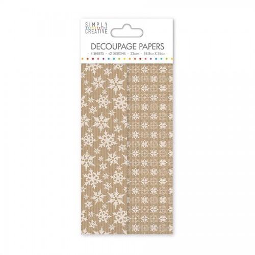 Simply Creative Decoupage Paper  Kraft Snowflake