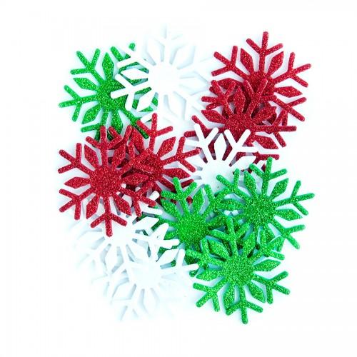 Блестящие Наклейки Из Пенки - Снежинки 3, 12 Шт