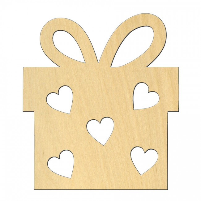 """Wooden pc. for art 500 """"Present with hearts"""" 7,5х8,5 cm"""