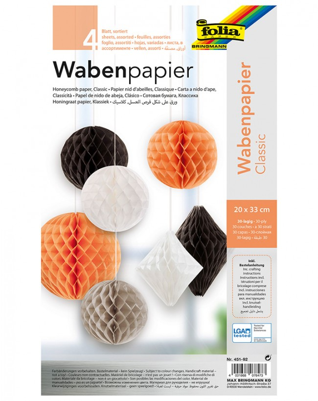Honeycomb Tissue CLASSIC 20x33cm, 4 sheets, assorted colours