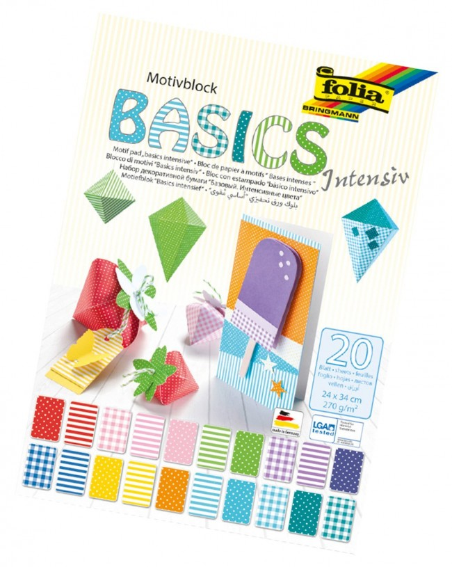 Motifblock BASIC INTENSIVE, 270g/mІ 24x34cm, 20 sheets assorted