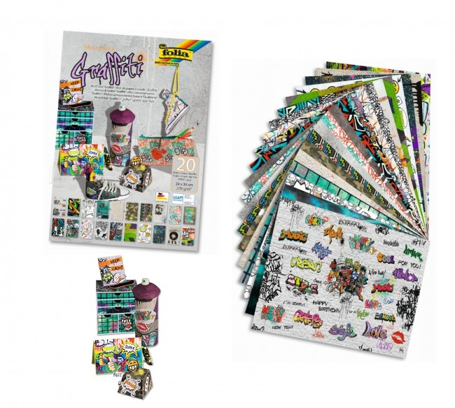 Motifblock GRAFFITI, 270g/mІ 24x34cm, 20 sheets assorted