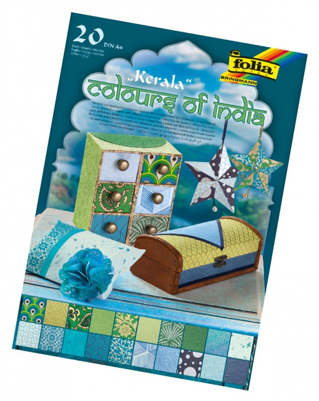 "Natural paper ""Colours of India"" KERALA 20 sheets, DIN A4, blue/green assorted"